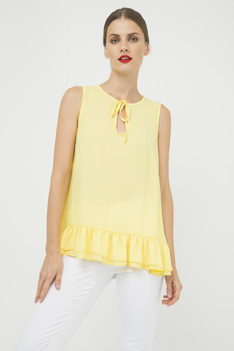 Yellow Double Frill Detail Top
