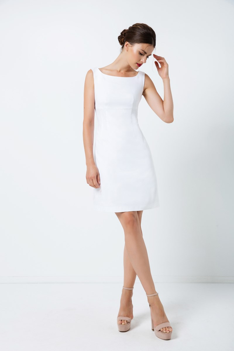 White Sleeveless Empire Line Dress