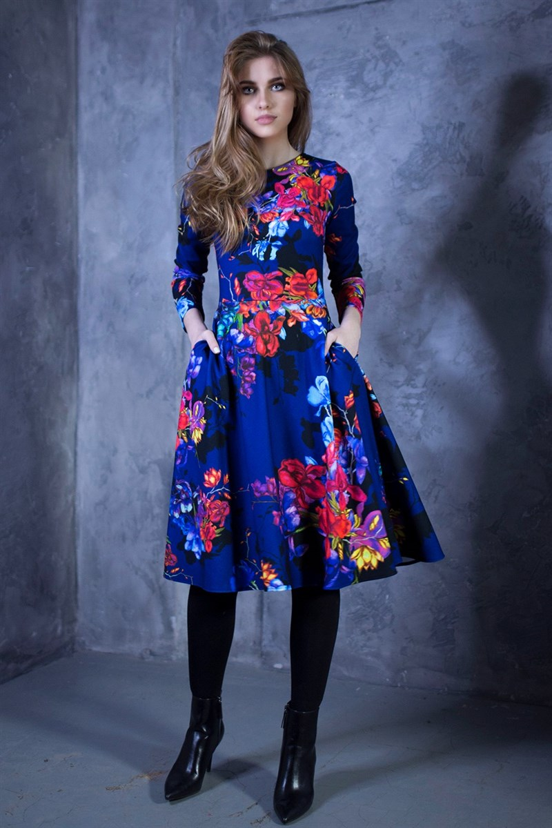 Dark blue full dress with painted flowers