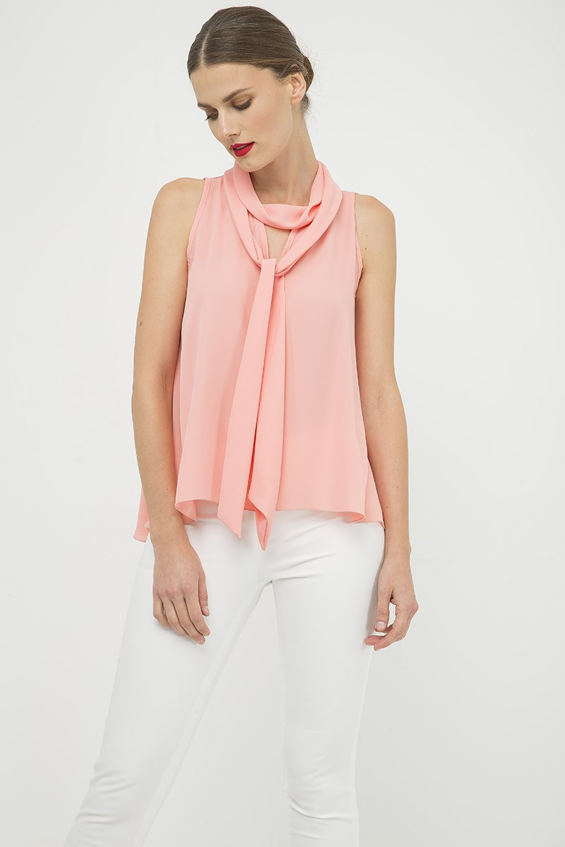 Peach Sleeveless Top with Tie Neck