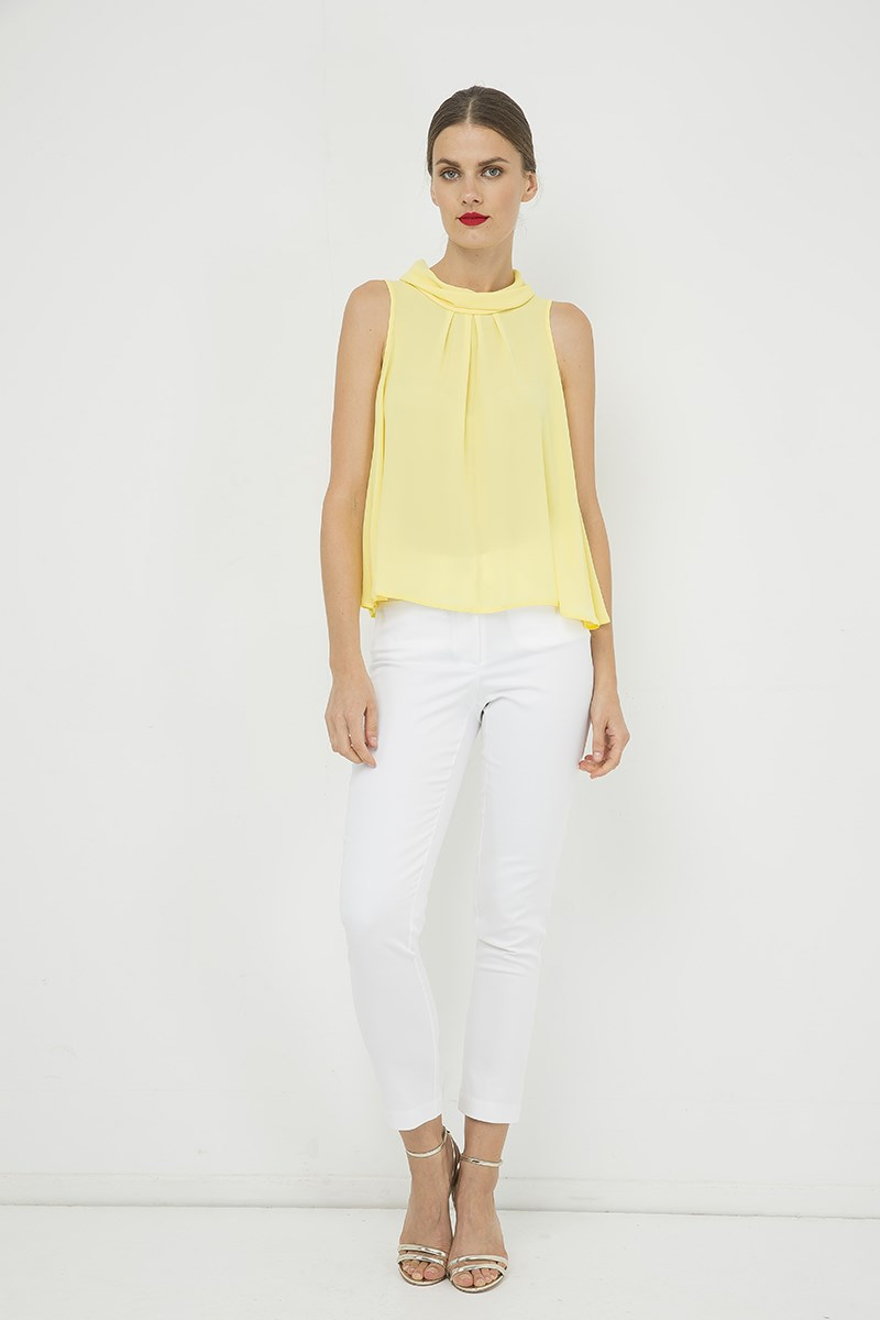 Yellow Sleeveless Top with Pleat Detail