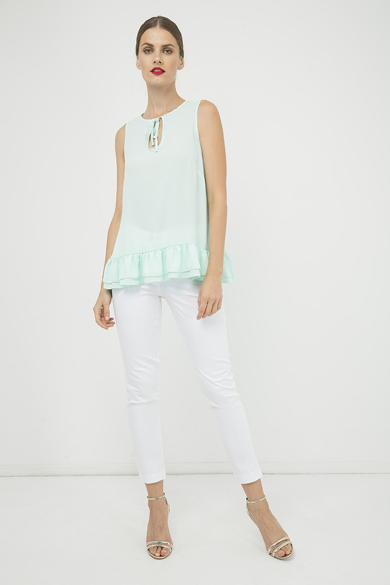 Light Green Double Frill Detail Top
