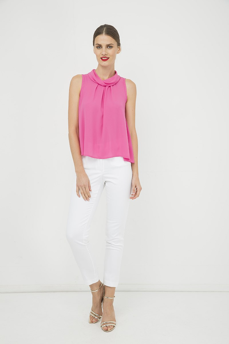 Pink Sleeveless Top with Pleat Detail