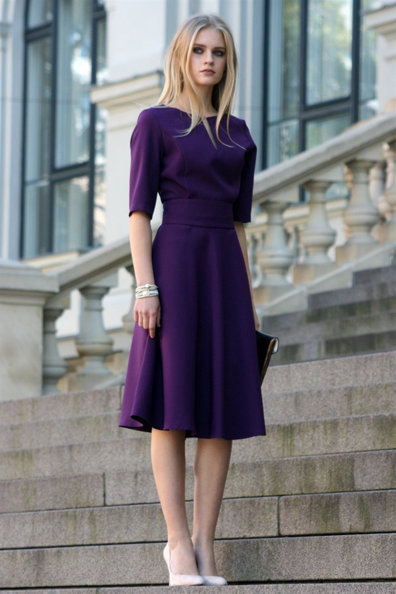 Dark purple dress with circle skirts