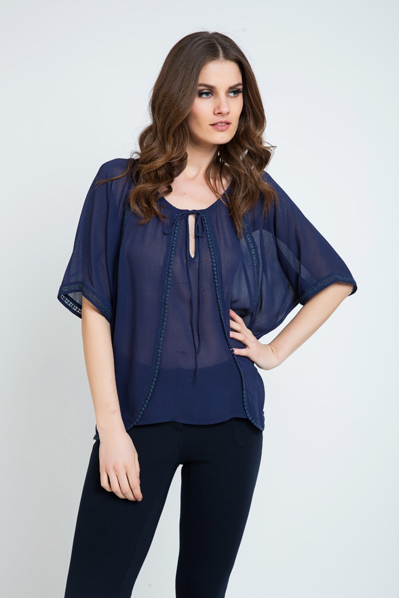 Sheer Boho Top Navy