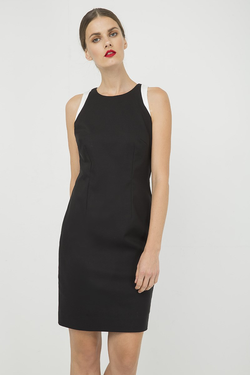 Black Sleeveless dress with Contrast Detail
