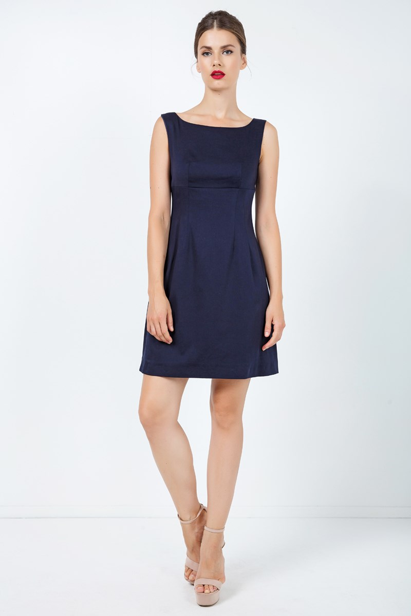 Navy Blue Sleeveless Empire Line Dress