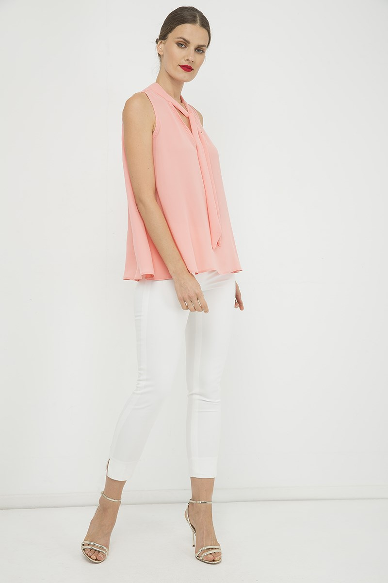 Peach Sleeveless Tie Detail Top