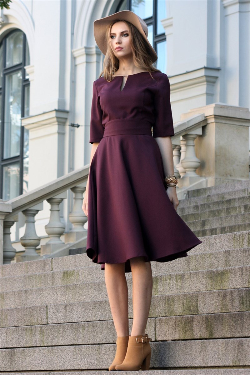 Grape purple dress with circle skirts
