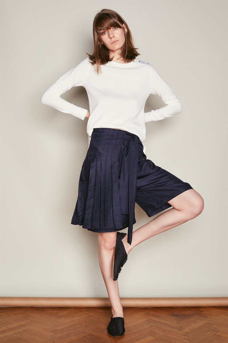 Navy Asymmetric Wrap Wide Leg Culottes