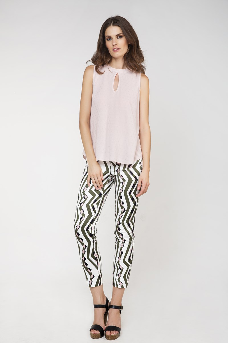 Fitted Print Trousers