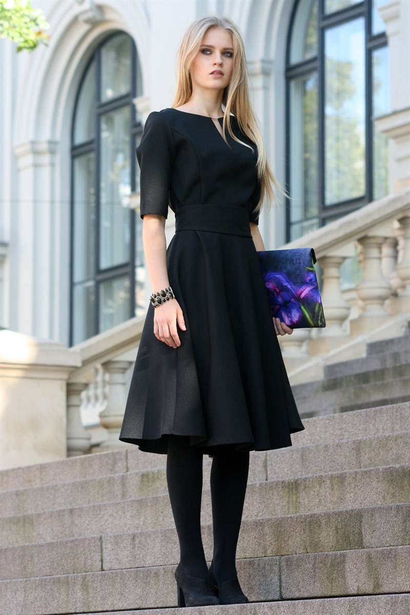 Black dress with circle skirts
