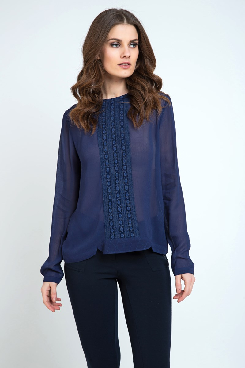Sheer Ethnic Style Top Navy