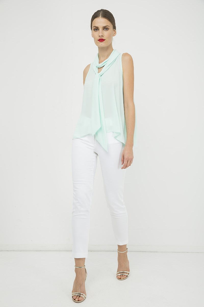 Light Green Sleeveless Top with Tie Neck