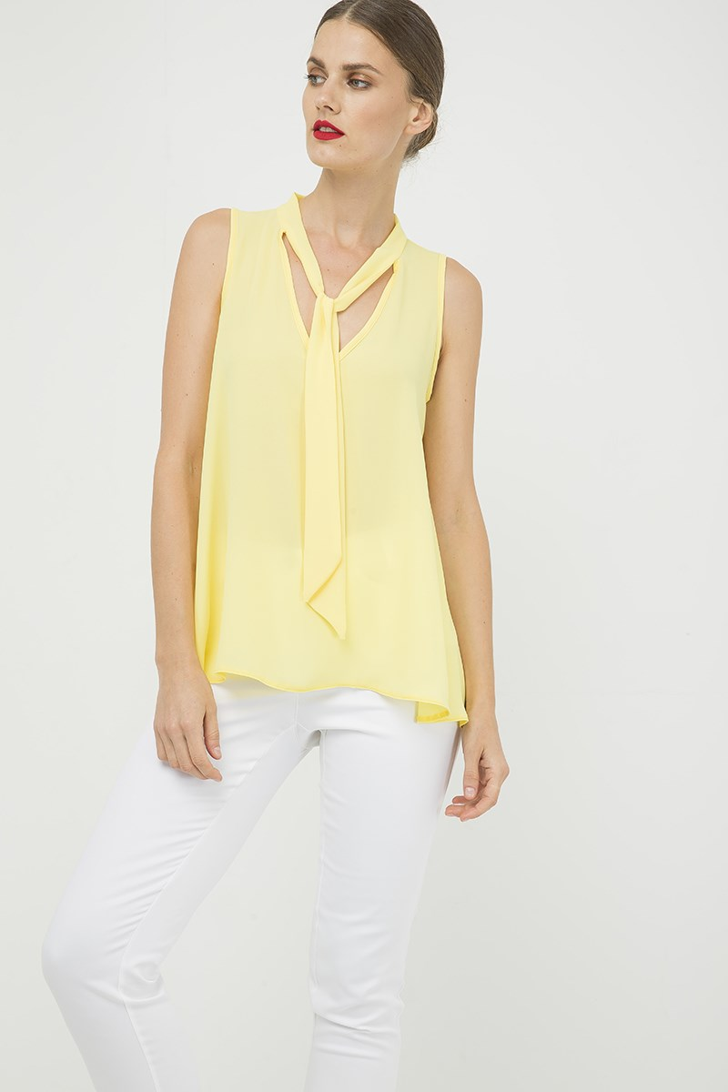 Yellow Sleeveless Tie Detail Top