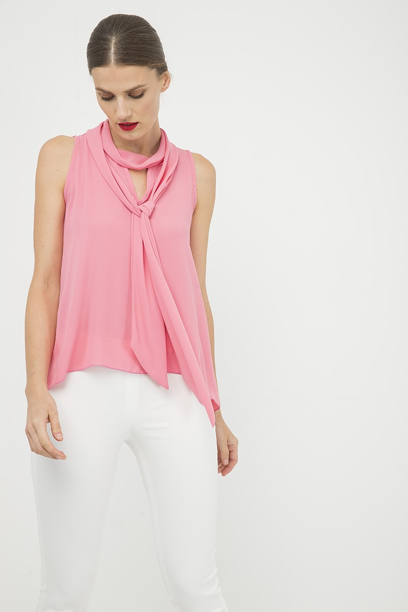 Pink Sleeveless Top with Tie Neck