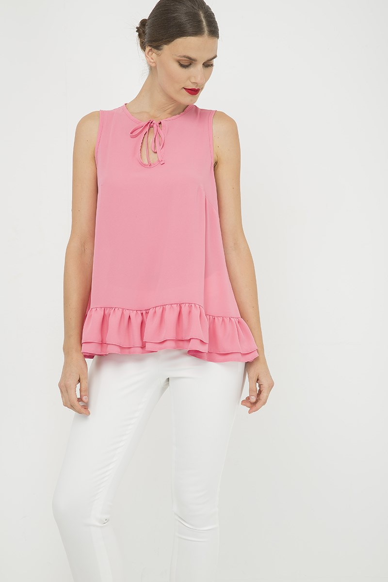 Pink Double Frill Detail Top