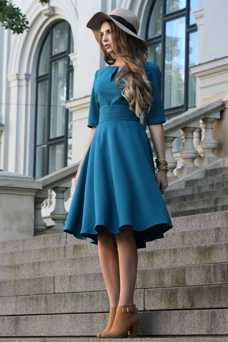 Green Blue dress with circle skirts
