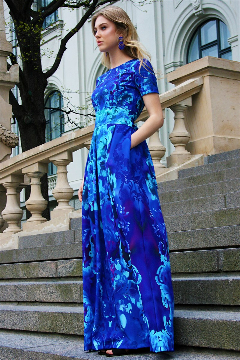 Blue long dress with a baroque ornament and pockets