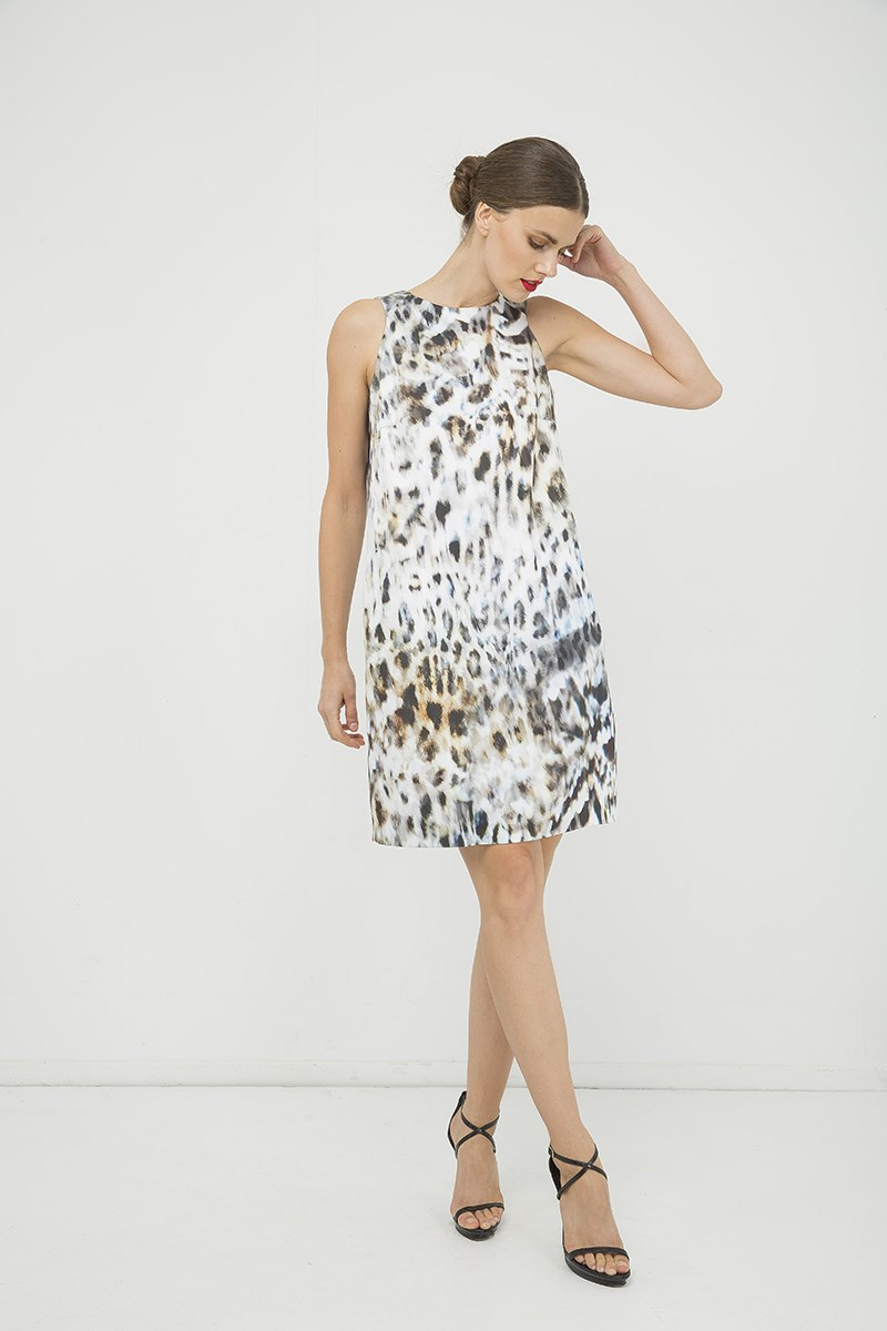 Print Sleeveless Sack Dress with Pockets