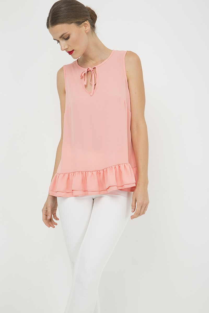 Peach Double Frill Detail Top