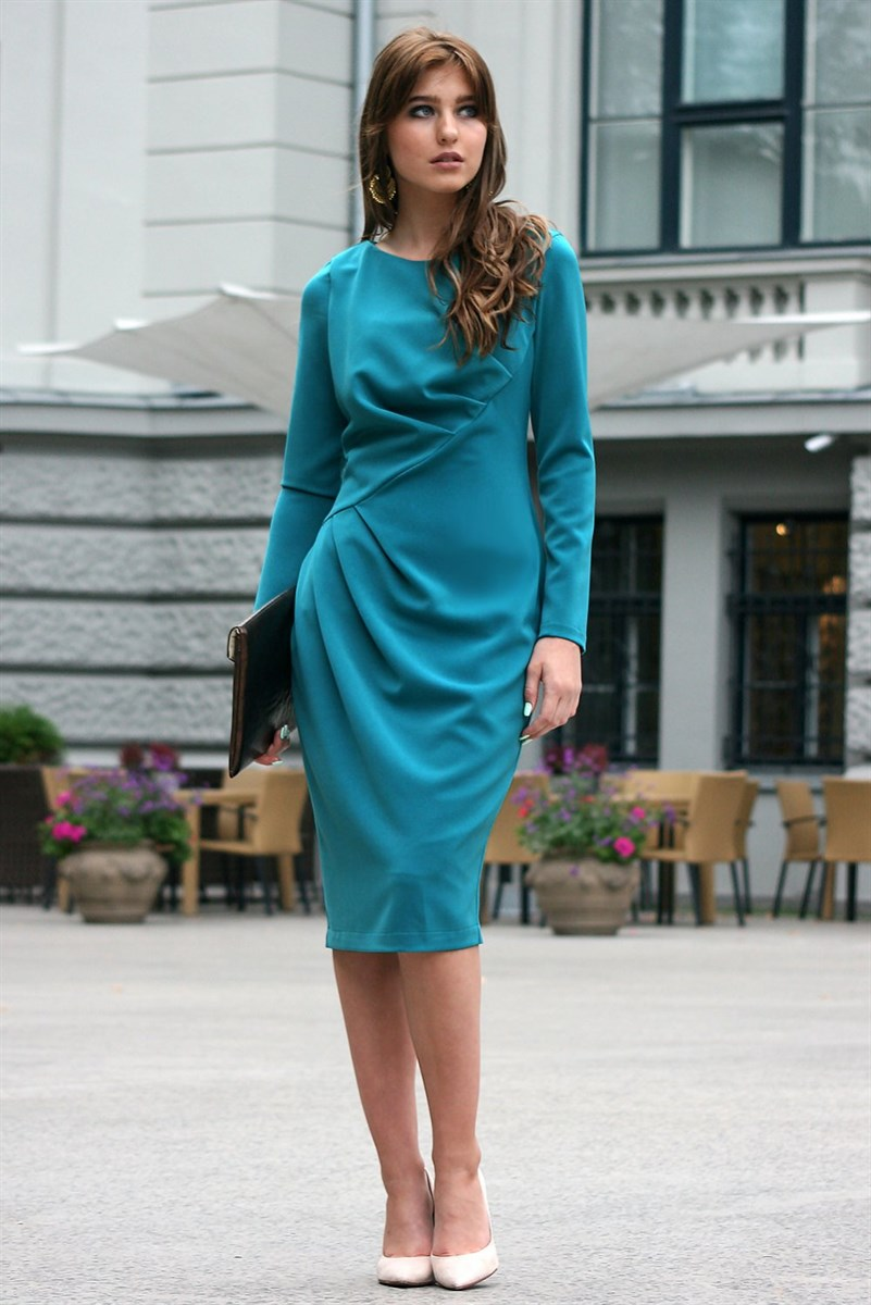 Dark turquoise dress with pleats on the waistline