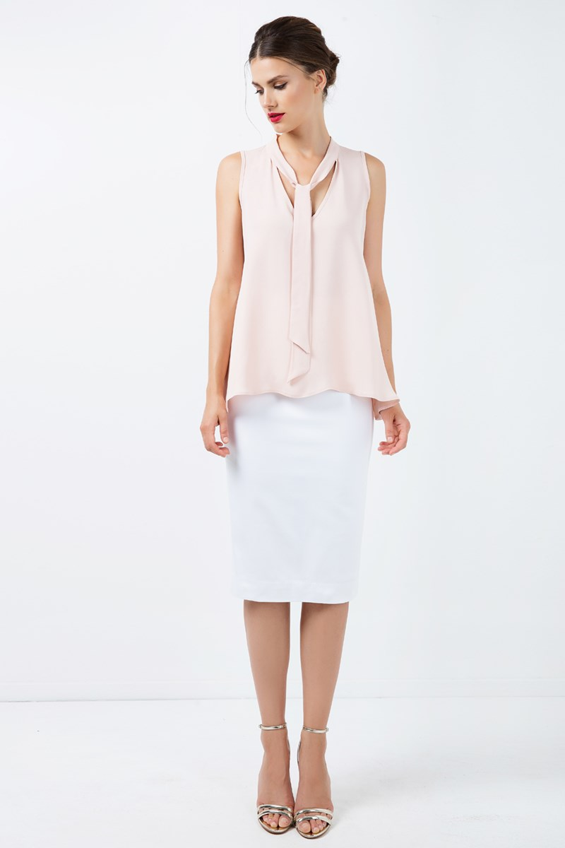 Fitted High-Waisted Pencil Skirt