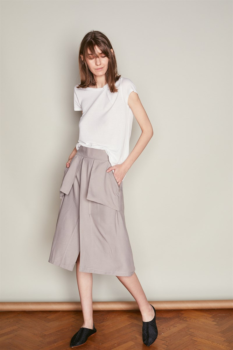 Grey A Line Skirt with Pockets