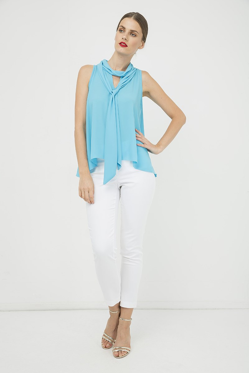 Turquoise Sleeveless Top with Tie Neck